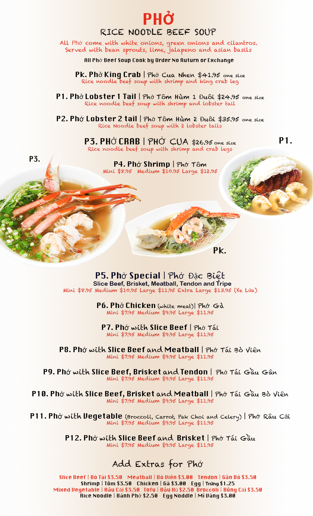 Pho Menu | Detroit Pho & Crab